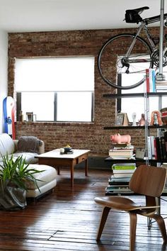 At least once in my life I'd like to store my bicycle on the ceiling.