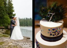 Wedding cake with peacock feathers on top by FlourGirl Patissier.    Rob & Mandy, August 2012 Door County Wedding in Baileys Harbor, WI.     © Jason Mann Photography   http://www.jmannphoto.com
