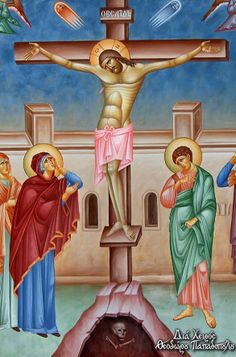 The Crucifixion by Theodoros Papadopoulos Catholic Pictures, Byzantine Icons, Religious Icons, Orthodox Icons, Crucifix, Pictures To Draw, Art Drawings, Creations, Altars