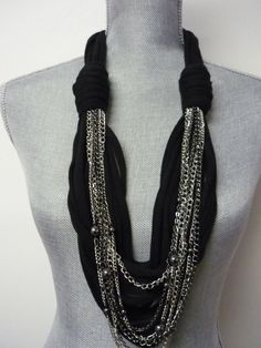 Chunky Scarf Necklace w/chains - Black & Silver - Eco-Friendly Jersey Scarf w/Jewelry Detail
