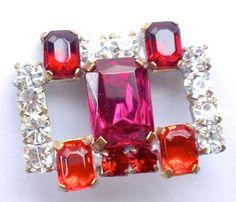 Hot Pink & Orange Rhinestone Button Czech by CrimsonVintique, $15.00