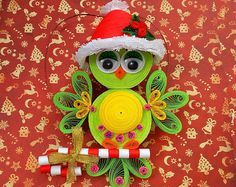Christmas tree toy Christmas owl Santa owl Quilling art 3D quilling Quilled ornament Cute Christmas Christmas decoration Christmas ornament