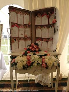 A table plan I made using an old suitcase and oversized luggage tags for a beautiful wedding with a travel theme.  www.specialoccasionshandmade.co.uk