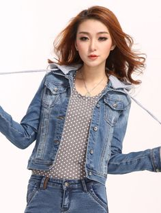 Blue Denim Spread Neck Long Sleeves Distressed Chic Women's Jacket - Milanoo.com