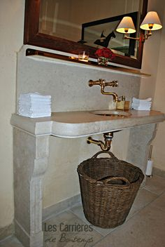 very nice for a powder room! R. L. Paris boulevard Saint Germain ! also from our craftsmanship !#french #stoneflooring #anticstone #design  #frenchstone #castle #french #limestone #beige #powderoom #bathroomideas