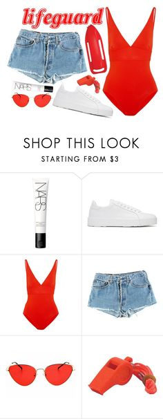 """HALLOWEEN COSTUME: LIFEGUARD"" by mariimontero ❤ liked on Polyvore featuring NARS Cosmetics, Jil Sander, Eres and Levi's"