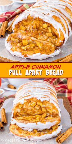 Apple Cinnamon Pull Apart Bread - homemade bread dough and apple pie filling bakes into a delicious and gooey pull apart bread. Great recipe to make for breakfast or brunch this fall. Cinnamon Pull Apart Bread, Apple Cinnamon Bread, Cinnamon Apples, Apple Pie, Apple Recipes, Fall Recipes, Great Recipes, Vegan Recipes, Monkey Bread Muffins