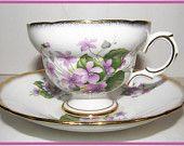 Rosina Tea Cup and Saucer Vintage Violets