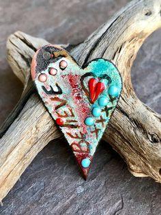 HEART ENAMEL PENDANT - Handmade Enamel, Artisan Enamel, Handmade Pendant