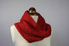 This is a lovely mobius cowl that uses a cotton viscose mix to create a fantastic drape.