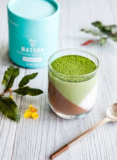 Tri-Layer Matcha Panna Cotta. Vegan, GF Recipe.