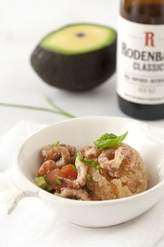 Shrimps, tomato, avocado with sorbet of Rodenbach beer