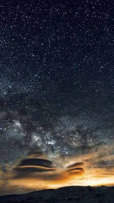 Céu noturno, 5k, papel de parede 4k, 8k, Estrelas, noite, montanhas, nebulosa (vertical)