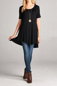Hi Low Tunic Top Black