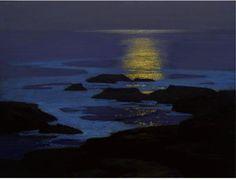 Clair de lune, la côte du Maine, dessin de Edward Henry Potthast (1879-1881, United States)