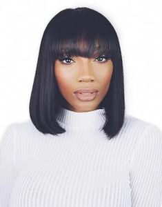 Hotsale Straight Short Bob Wigs with Bangs Human Hair Lace Front Wigs Bobo Wigs Celebrity Wig With Fringe Bob Hairstyles, Straight Hairstyles, Bob Haircuts, Medium Hairstyles, Black Hairstyles, Hair And Beauty, Corte Bob, Front Hair Styles, Hair Front