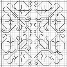 Blackwork flowers, motif and fill Blackwork Cross Stitch, Blackwork Embroidery, Cross Stitch Charts, Cross Stitch Designs, Cross Stitching, Cross Stitch Embroidery, Embroidery Patterns, Portrait Embroidery, Graph Paper Art