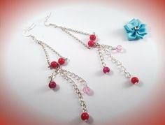boucles d'oreille pampille métal argenté et perle en verre rouge mauve rose pâle : Boucles d'oreille par chely-s-creation