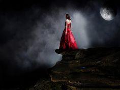 ... , clouds, dark, dress, fantasy, female, girl, moon, night, red, woman