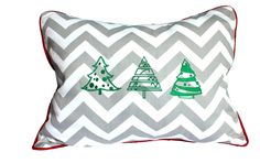 """MA HOME Christmas pillows, trees, 15""""x19"""" Gray Chevron and red"""