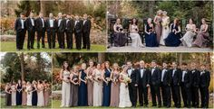 mismatched bridesmaids for a fall wedding at RT Lodge #navy #taupe #fallwedding