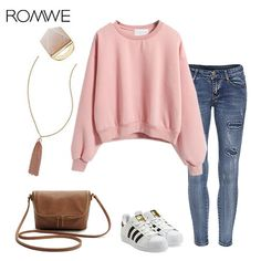 Round Neck Crop Pink Sweatshirt - Cute Fall Style