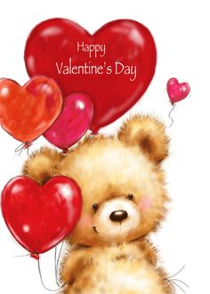 Valentine's Day, Cute Bear with Red Heart Shaped Balloon card. Cards are shipped the Next Business Day. Valentine Heart Images, Happy Valentine Day Quotes, Love Valentines, Valentine Day Cards, Teddy Pictures, Cute Bear Drawings, Art Activities For Toddlers, Valentines Balloons, Birthday Card Sayings
