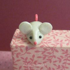 Mouse Clay Figurine - Polymer Clay - Handmade Small Sculpture - Polymer Clay White Mouse - Pocket Totem. $8.00, via Etsy.