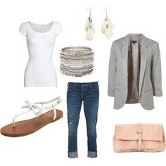 Gray Blazer Outfit, created by estespa