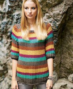 Пуловер с рукавом реглан, схема вязания на сайте Люди Вяжут
