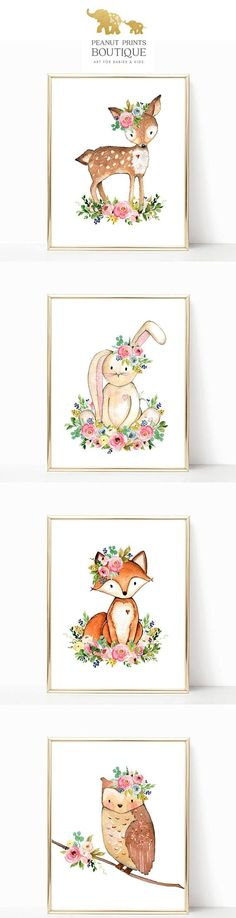 Darling Woodland Nursery Prints for Baby Girls. These adorable Floral Woodland Animals are such cute nursery Printables. by Peanut Prints Boutique on Etsy