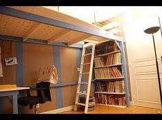 chambre d 39 ado avec double mezzanine vibel banquette et armoire personnalisable cia. Black Bedroom Furniture Sets. Home Design Ideas