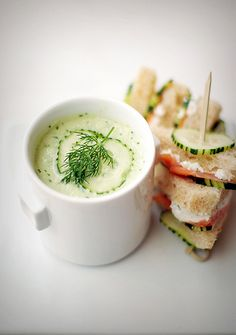 COLD SOUP, HOT HAWAII: cucumber, yogurt and dill cold soup (with salmon-goat cheese mini sandwich). When I can eat smoked salmon again!
