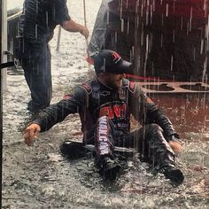 NNS practice at Richmond was cancelled due to rain so Jeffrey Earnhardt decided to use the Goodyear tires as a float Jeffrey Earnhardt, Dale Earnhardt, Nascar News, Goodyear Tires, Fox Sports, Nascar Racing, Over The Years, Fun, Hilarious