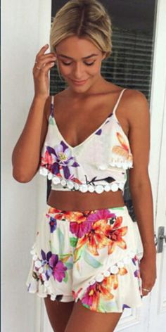 Fashion Floral Pring Tops + Shorts Two-piece Set