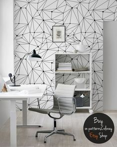 Minimalistic constellations wallpaper black and white lines wall mural dots scandinavian style reusable removable Wall Design, House Design, Design Design, Black And White Wallpaper, Black White, Trendy Wallpaper, Contemporary Wallpaper, Scandinavian Style, Scandinavian Wallpaper