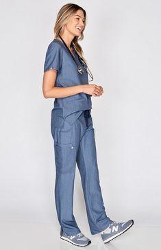 a3a77b47581 heather denim Scrubs Outfit, Scrubs Uniform, Scrub Suit Design, Medical  Scrubs, Nursing
