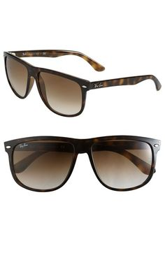 Ray-Ban 'Boyfriend Flat Top Frame' 60mm Sunglasses available at #Nordstrom tortoise gradient