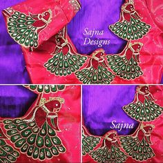 Beautiful royal blue color designer blouse sleeves with peacock and parrot design hand embroidery work. Peacock Blouse Designs, South Indian Blouse Designs, Blouse Designs High Neck, Best Blouse Designs, Hand Work Blouse Design, Simple Blouse Designs, Bridal Blouse Designs, Peacock Design, Mirror Work Blouse