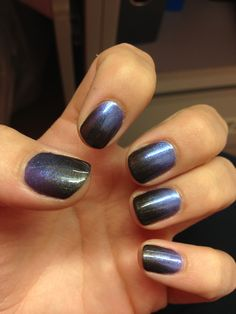 Shellac nails, night glimmer with blue haven additive fade.