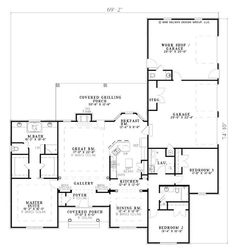 Ranch House Plans - The plan collection .com plan ( 2096 sqft) Shop House Plans, Ranch House Plans, Dream House Plans, House Floor Plans, The Plan, How To Plan, Plan Plan, Plan Design, Home Design