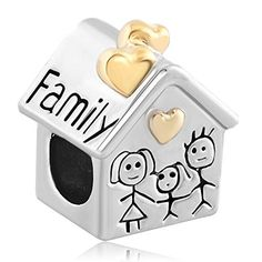 Pugster Gold Plated Heart Love Family Mom & Baby Girl & Dad Home Bead Fits Pandora Charms Bracelet