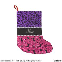 Custom name rose pink glitter cheerleading leopard small christmas stocking