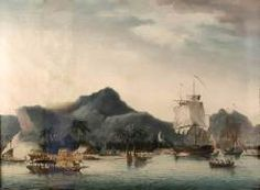The painting refers to James Cook's voyage to Hawaii in 1779. To the right the 'Resolution' and the 'Discovery' are at anchor in Kealakekua Bay, which takes up the foreground of the composition. Indigenous islanders can be seen on boats and among the houses and palm trees along the shore in the middle ground. In the background the mountains rise into the clouded sky.