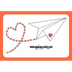 Paper Airplane with Heart Embroidery Design