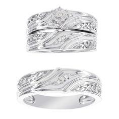 H Star Platina 4 Diamond Accent Men's and Women's Engagement Trio Bridal Set (I-J, I2-I3) (Women's Size 8, Men's Size 10), White