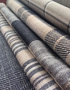 Collection: Linens. Fabrics: Skye check charcoal, Kintyre check charcoal, Oban check charcoal, Jura stripe charcoal, Arran charcoal.