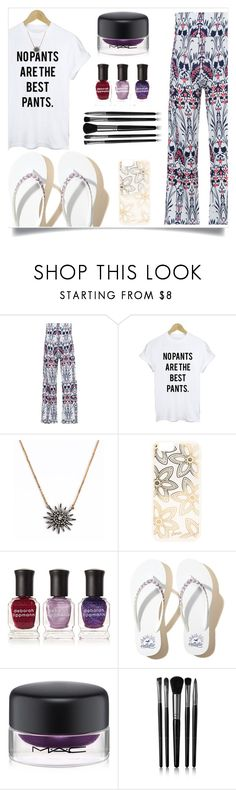 """""""White T Shirt Tropical Print Exumas Palazzo Pants"""" by rosegal-official ❤ liked on Polyvore featuring WithChic, Sonix, Deborah Lippmann, Hollister Co., MAC Cosmetics and Illamasqua"""