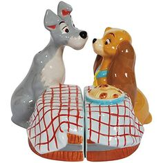Disney Lady and the Tramp Licensed Set of 2 Ceramic Salt and Pepper Shakers