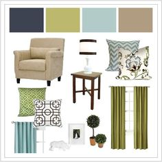 contrast colors for navy blue and taupe - funny green (avocado like on hutch?) and aqua?